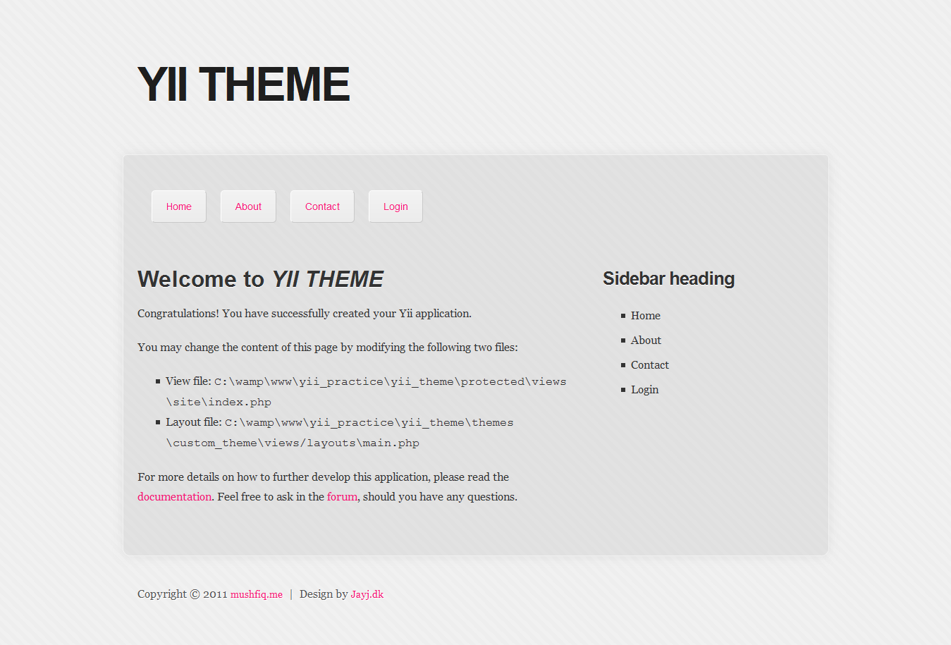 Creating a YII application theme from a HTML template. | Caveman\'s ...